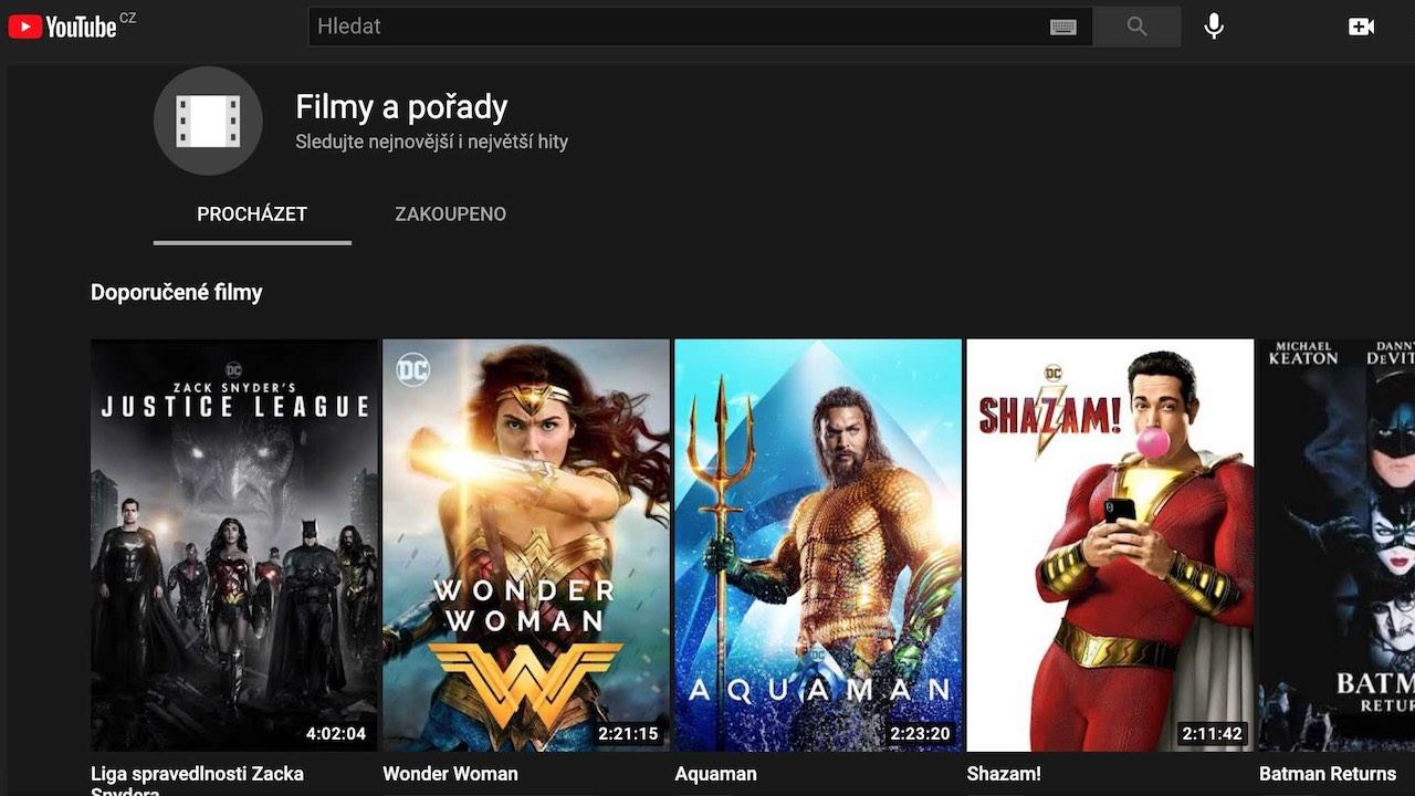 Google konečně nabízí koupi filmů na YouTube i v Česku. Jak to funguje?