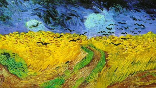 Van Gogh– oobilných polích a oblačném nebi